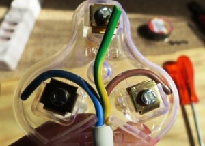 Wire distribution in a plug.
