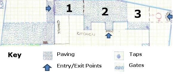 Garden plan with key