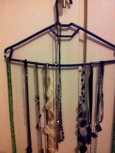 Use a hanger to organise your necklaces quick sticks.