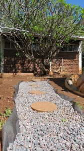 French drain bottom drainage area