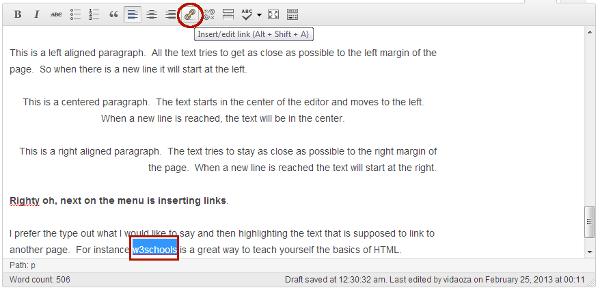 Inserting links