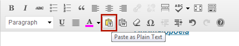 Paste as plain text button