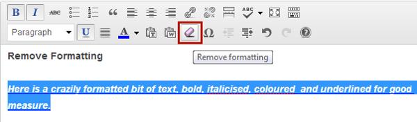 Remove formatting button