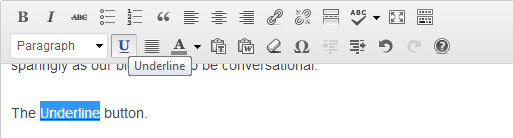 Underlining text