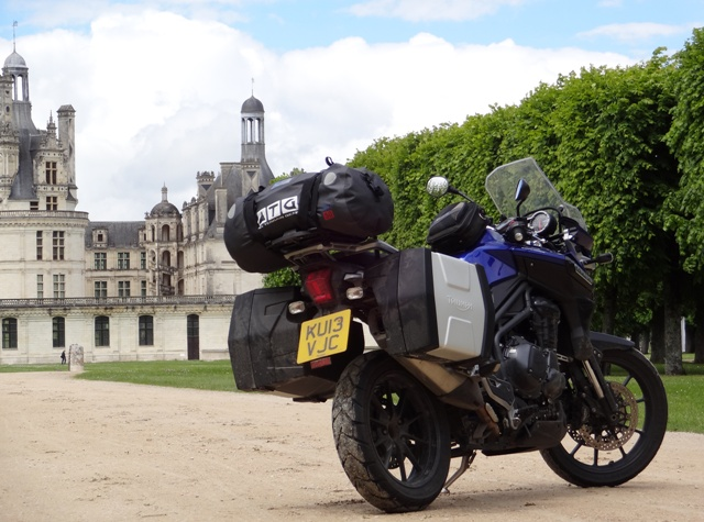 The trusty Triumph Tiger in front of Chateau Chambord