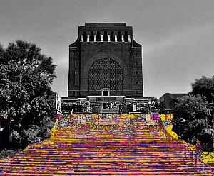 Yarn Indaba 2014 voortrekker monument yarn bomb