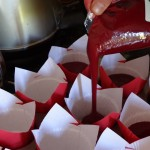 Snip a corner and pour into your cupcake holders.