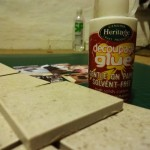 I used Heritage Decoupage Glue to paste the images on the tiles.